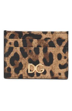 Женский кожаный футляр для кредитных карт DOLCE & GABBANA коричневого цвета, арт. BI0330/AI915 | Фото 1