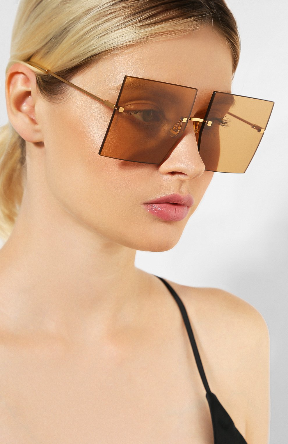 Женские солнцезащитные очки JACQUEMUS коричневого цвета, арт. LES CARRES BR0WN | Фото 2
