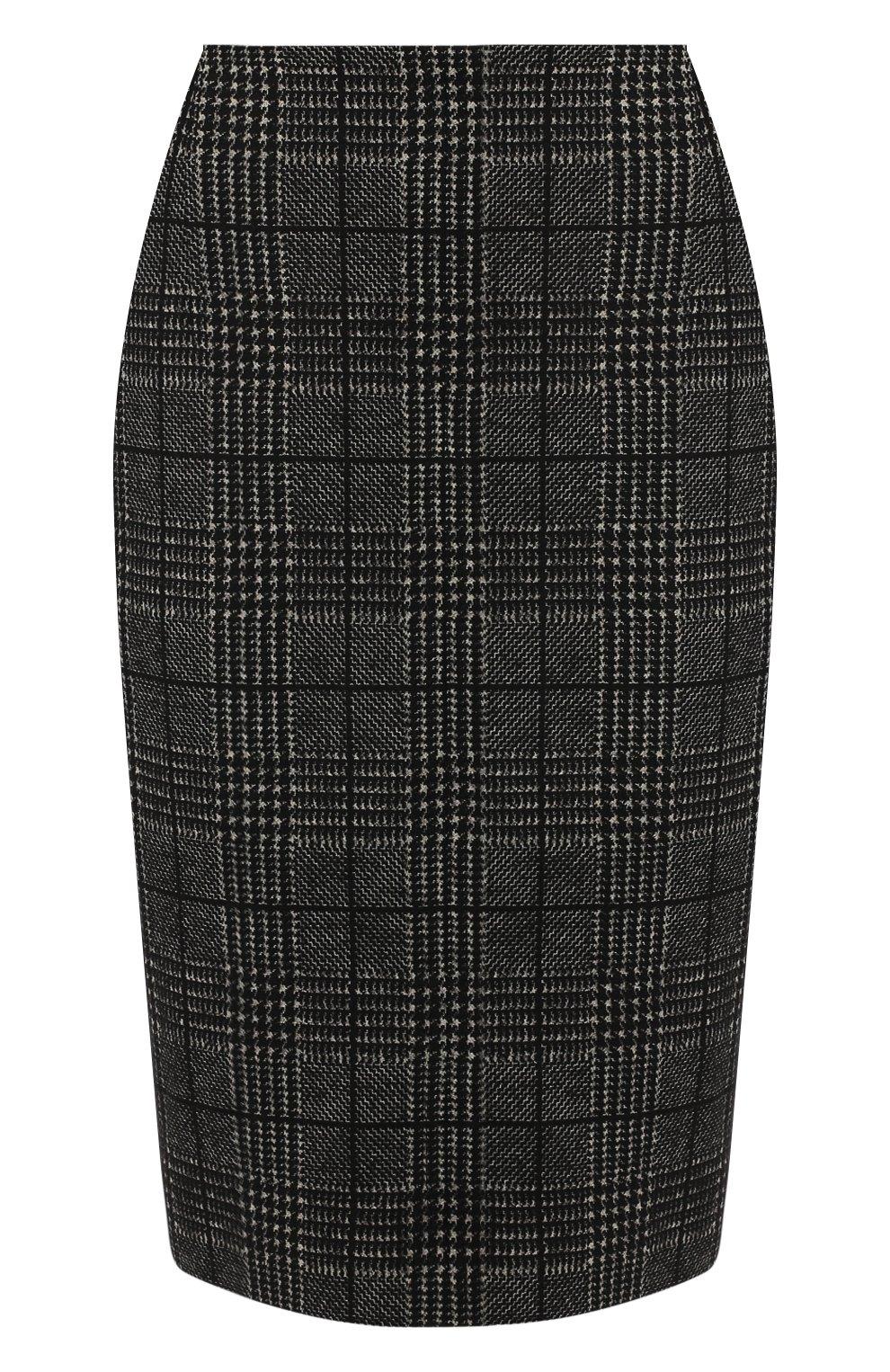 Женская хлопковая юбка BOSS черно-белого цвета, арт. 50414428   Фото 1