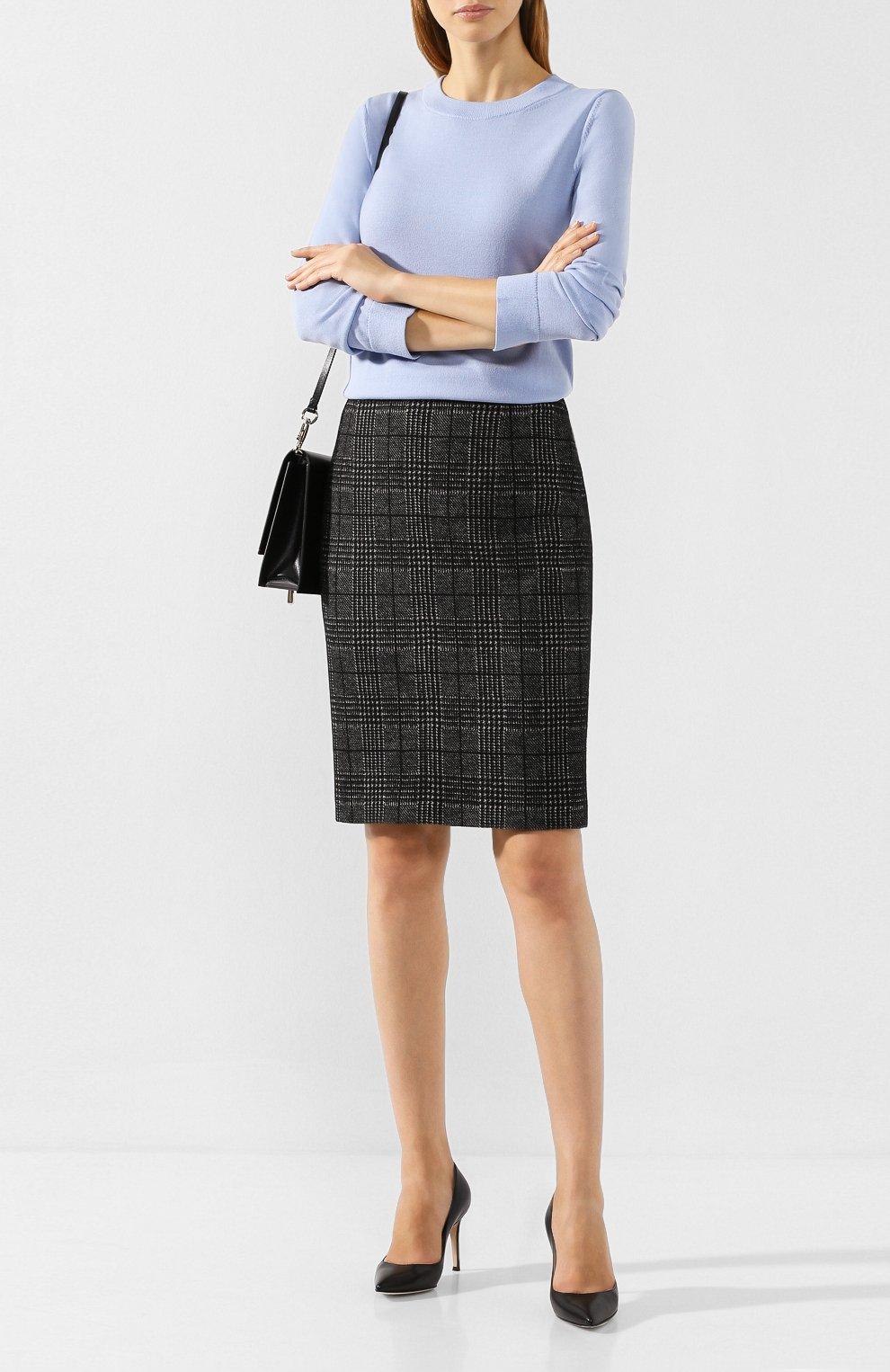 Женская хлопковая юбка BOSS черно-белого цвета, арт. 50414428   Фото 2