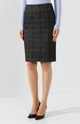 Женская хлопковая юбка BOSS черно-белого цвета, арт. 50414428   Фото 3