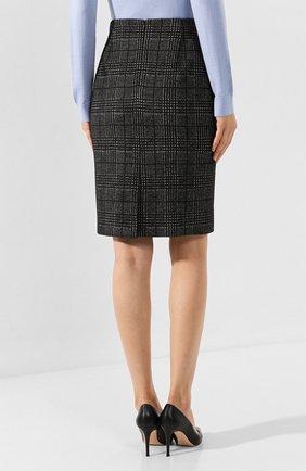 Женская хлопковая юбка BOSS черно-белого цвета, арт. 50414428   Фото 4