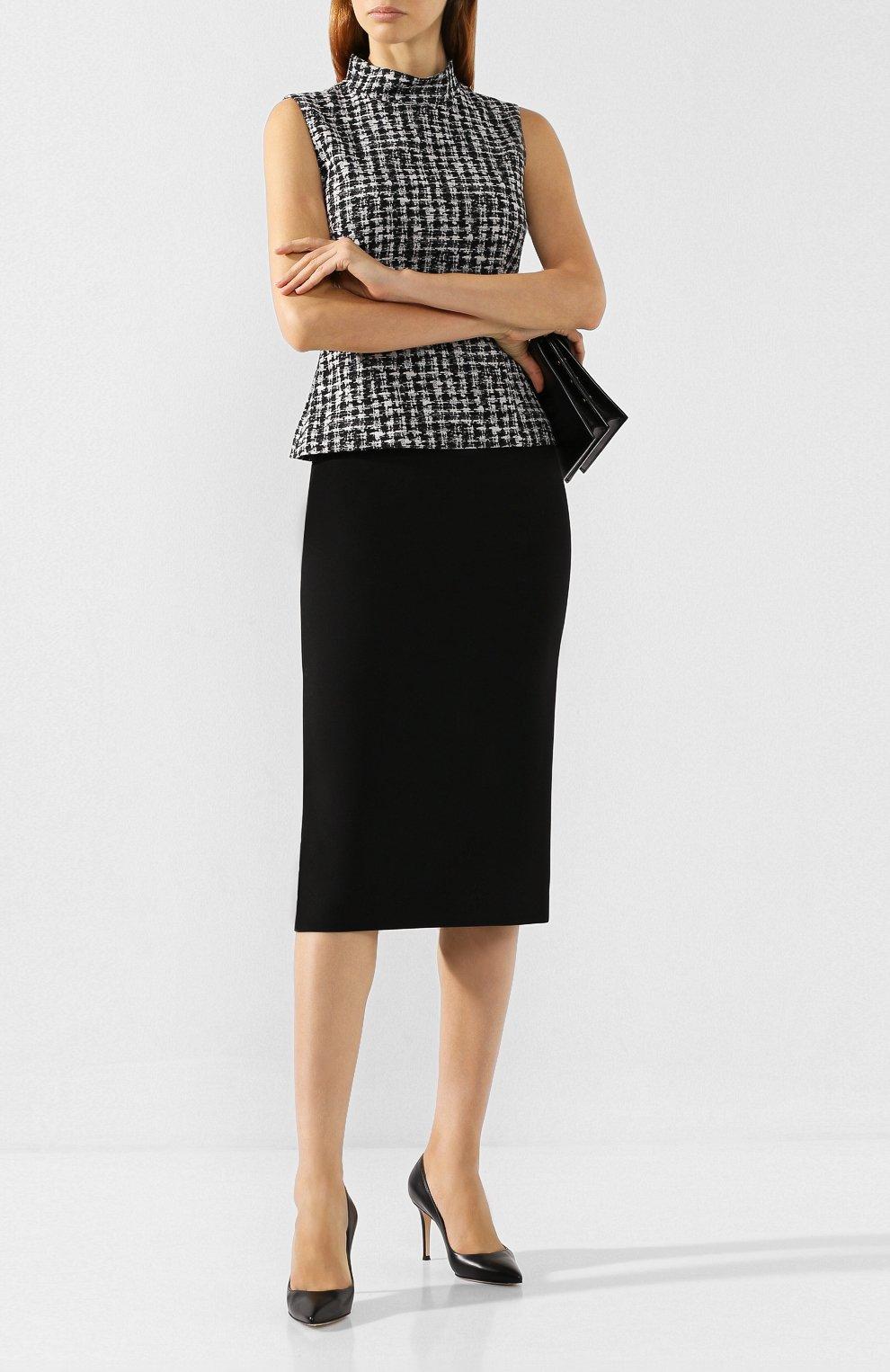 Женская хлопковая юбка BOSS черного цвета, арт. 50414346 | Фото 2