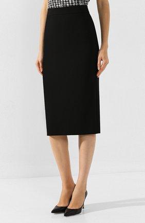 Женская хлопковая юбка BOSS черного цвета, арт. 50414346 | Фото 3