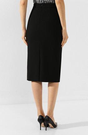 Женская хлопковая юбка BOSS черного цвета, арт. 50414346 | Фото 4