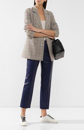 Женские кожаные брюки JOSEPH темно-синего цвета, арт. JF003502 | Фото 2