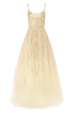 Женское платье-макси OSCAR DE LA RENTA золотого цвета, арт. 19PE024TUL | Фото 1
