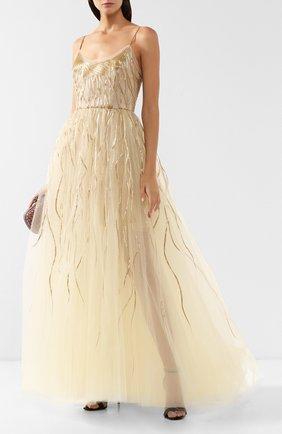 Женское платье-макси OSCAR DE LA RENTA золотого цвета, арт. 19PE024TUL | Фото 2