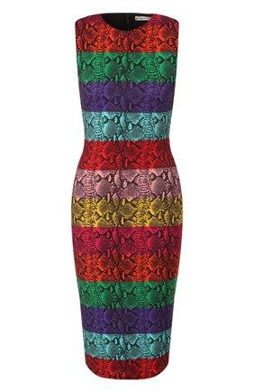 Женское платье из вискозы ALICE + OLIVIA разноцветного цвета, арт. CC907P77511   Фото 1 (Длина Ж (юбки, платья, шорты): До колена; Рукава: Без рукавов; Материал подклада: Синтетический материал; Статус проверки: Проверено, Проверена категория; Случай: Повседневный; Материал внешний: Вискоза)
