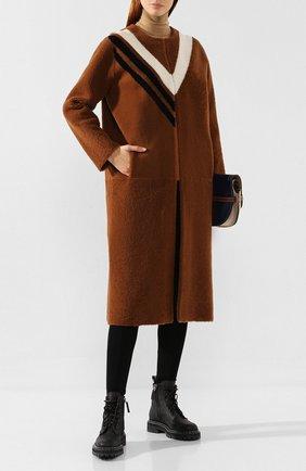 Женская меховое пальто INES&MARECHAL коричневого цвета, арт. FETARD | Фото 2