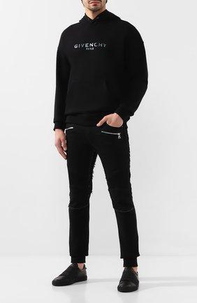 Мужской хлопковое худи GIVENCHY черного цвета, арт. BMJ04C30AF | Фото 2