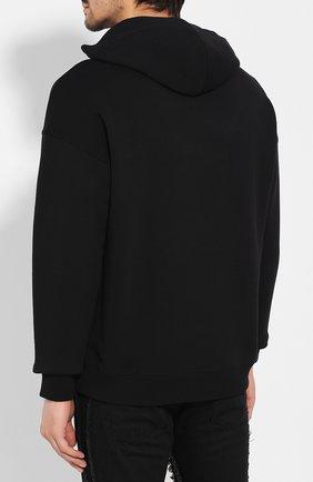 Мужской хлопковое худи GIVENCHY черного цвета, арт. BMJ04C30AF | Фото 4