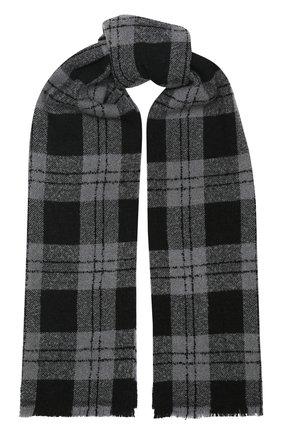 Мужской шарф из смеси шерсти и кашемира Z ZEGNA темно-серого цвета, арт. Z6L86/26H | Фото 1
