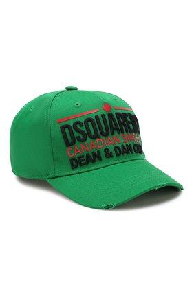 Мужской хлопковая бейсболка DSQUARED2 зеленого цвета, арт. BCM0227 05C00001 | Фото 1