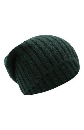Мужская кашемировая шапка ALLUDE темно-зеленого цвета, арт. 195/60005 | Фото 1