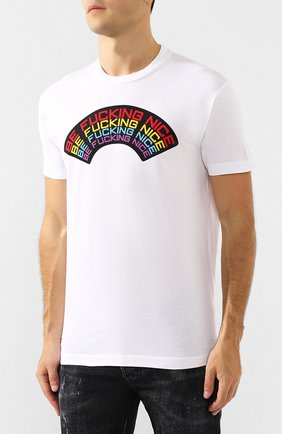 Мужская хлопковая футболка DSQUARED2 белого цвета, арт. S74GD0555/S22427 | Фото 3