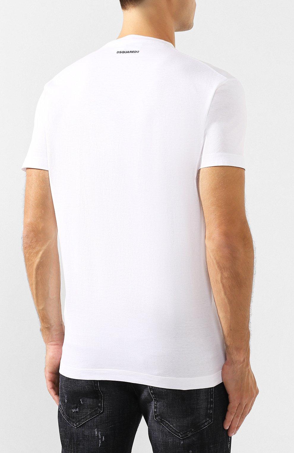 Мужская хлопковая футболка DSQUARED2 белого цвета, арт. S74GD0555/S22427 | Фото 4