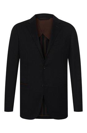 Мужской шерстяной пиджак ERMENEGILDO ZEGNA темно-синего цвета, арт. UTC26/TQR | Фото 1
