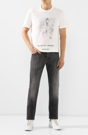 Мужская хлопковая футболка BRIONI белого цвета, арт. UJCH0L/08630   Фото 2
