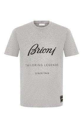 Мужская хлопковая футболка BRIONI серого цвета, арт. UJCH0L/08628 | Фото 1