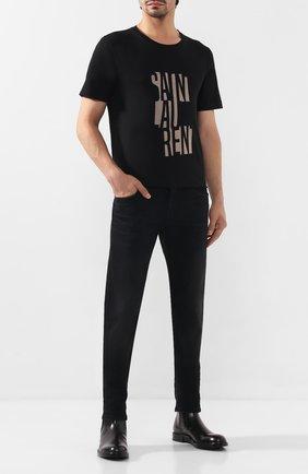 Мужская хлопковая футболка SAINT LAURENT черного цвета, арт. 577121/YBJJ2 | Фото 2