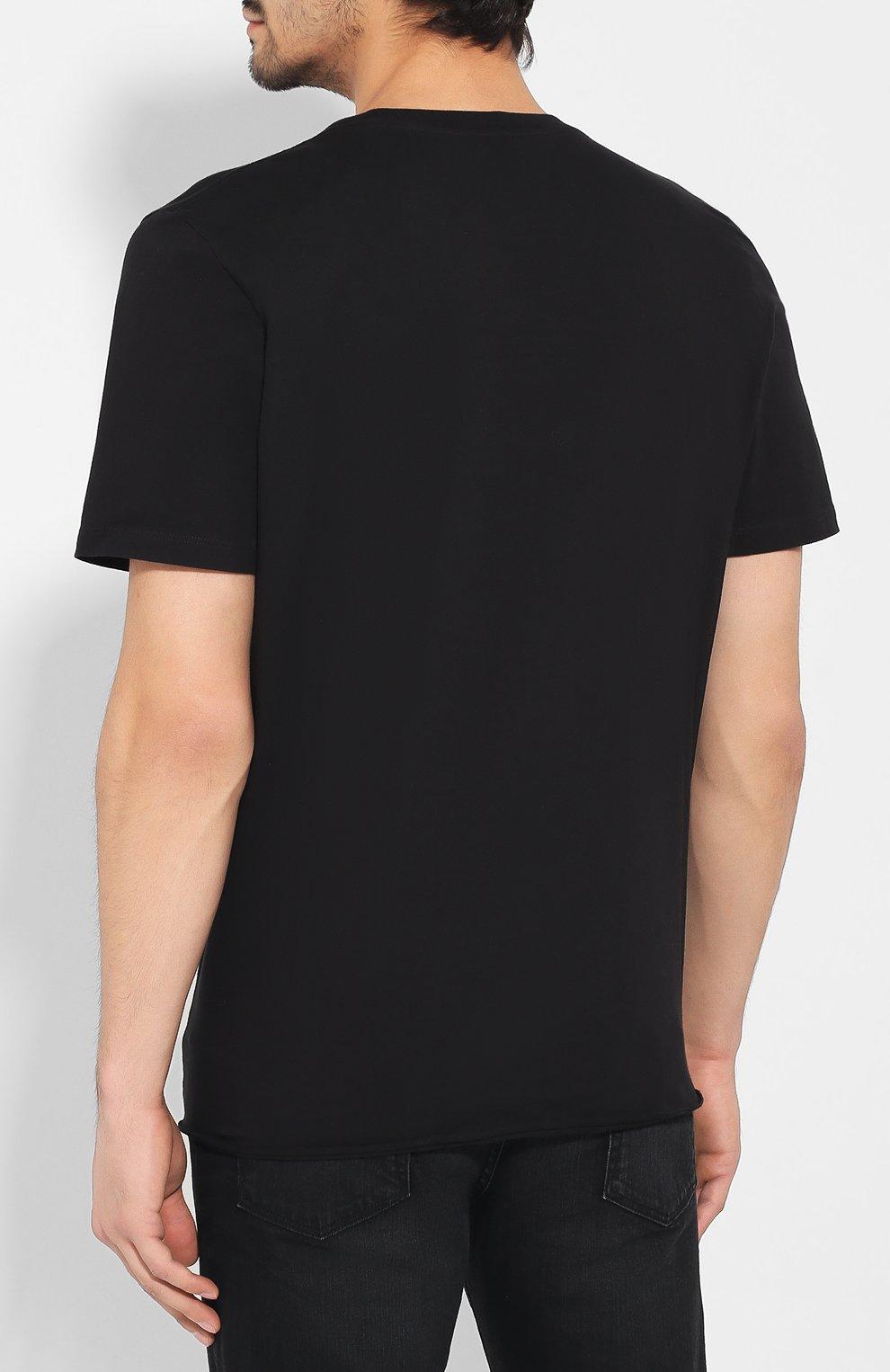 Мужская хлопковая футболка SAINT LAURENT черного цвета, арт. 577121/YBJJ2 | Фото 4
