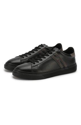 Мужские кожаные кеды h365 HOGAN черного цвета, арт. HXM3650J310IHV | Фото 1