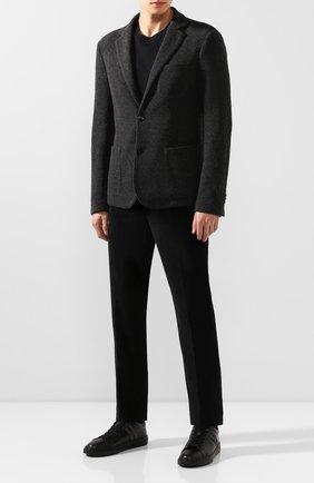 Мужские кожаные кеды h365 HOGAN черного цвета, арт. HXM3650J310IHV | Фото 2