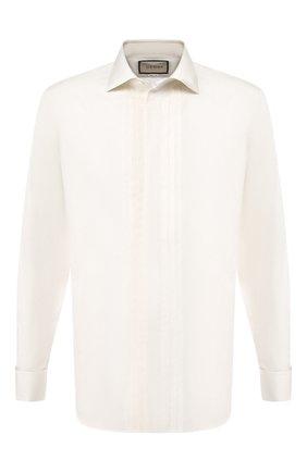 Мужская хлопковая сорочка GUCCI белого цвета, арт. 581432/Z3599 | Фото 1 (Материал внешний: Хлопок; Длина (для топов): Стандартные; Статус проверки: Проверено; Рукава: Длинные)