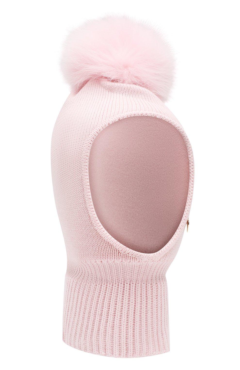 Детского шерстяная шапка-балаклава IL TRENINO светло-розового цвета, арт. 18 4115/E2   Фото 1