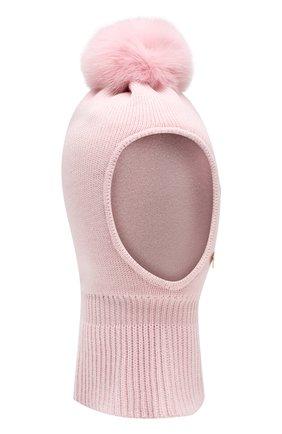 Детского шерстяная шапка-балаклава IL TRENINO светло-розового цвета, арт. 18 4115/E0 | Фото 1