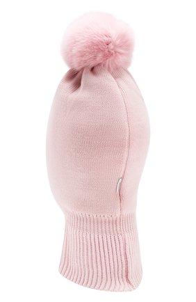 Детского шерстяная шапка-балаклава IL TRENINO светло-розового цвета, арт. 18 4115/E0 | Фото 2