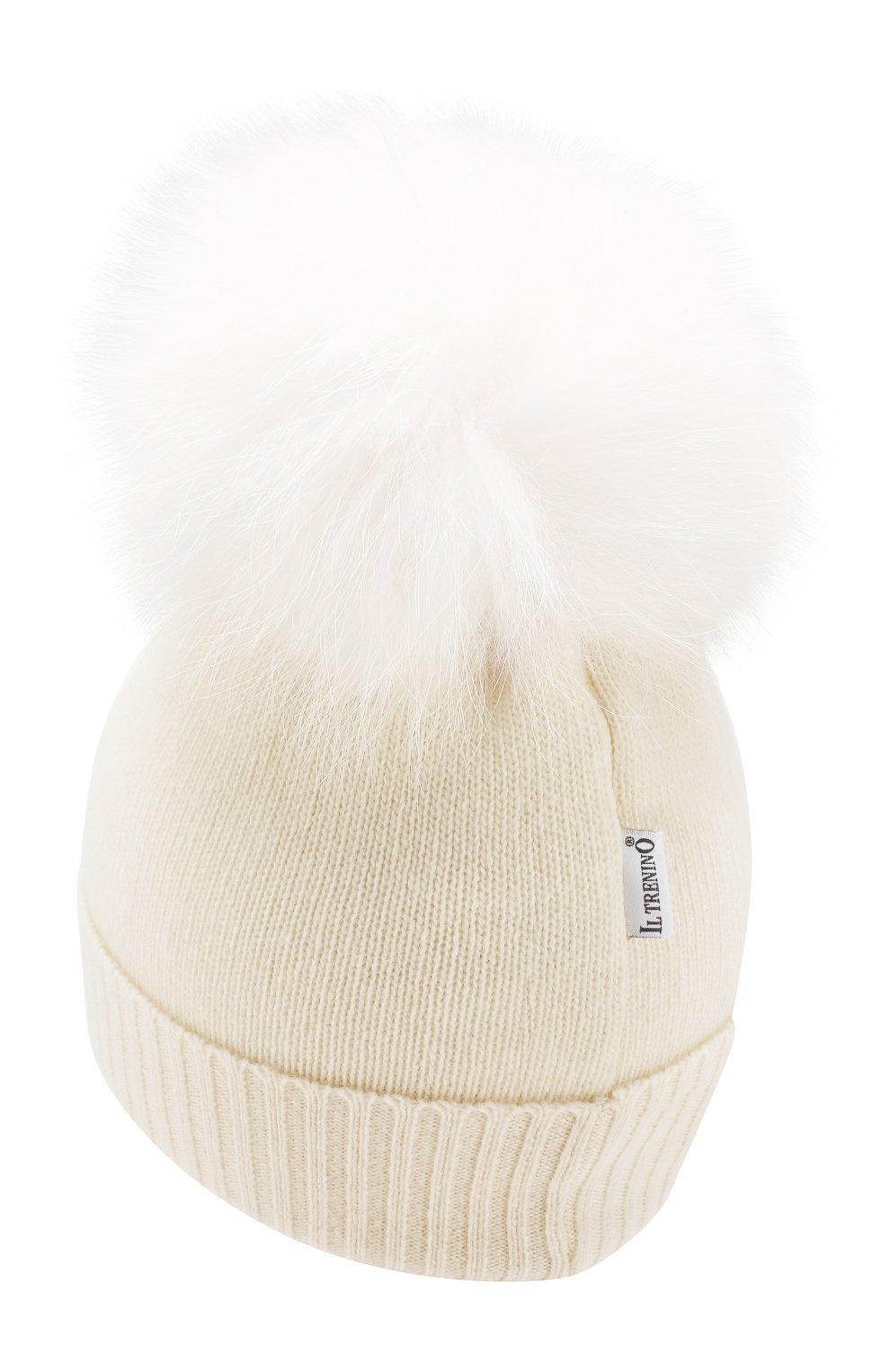 Детского шапка из шерсти и кашемира IL TRENINO белого цвета, арт. 15 8637/E0 | Фото 2