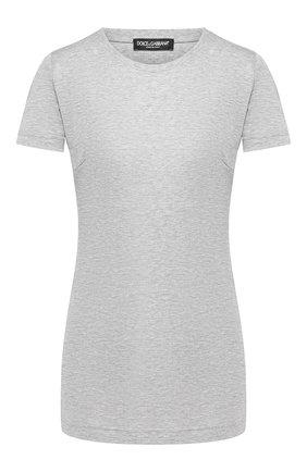 Женская хлопковая футболка DOLCE & GABBANA серого цвета, арт. F8H32T/G7TLC | Фото 1