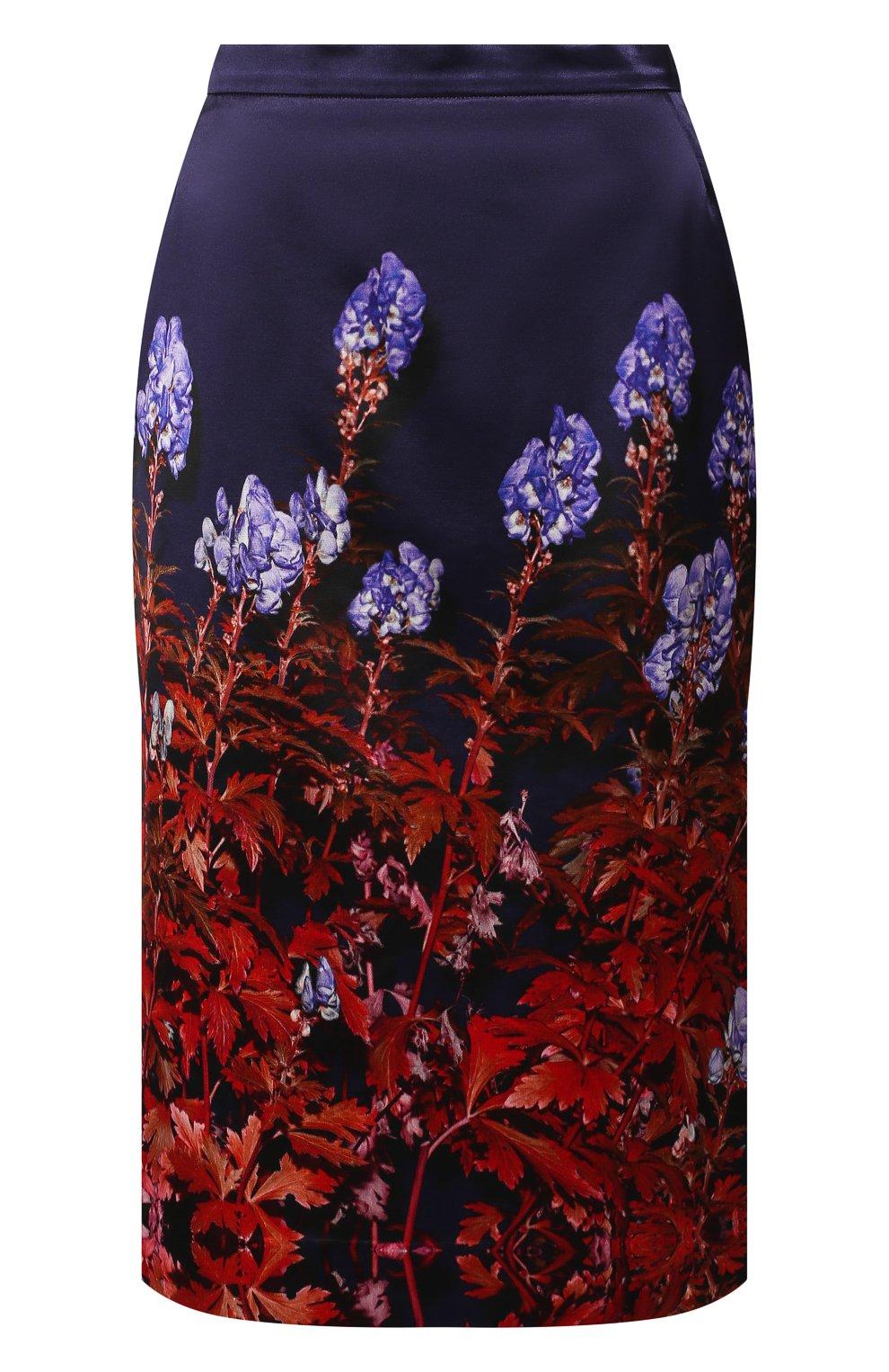 Женская юбка из смеси хлопка и вискозы DRIES VAN NOTEN темно-синего цвета, арт. 192-30815-8401   Фото 1