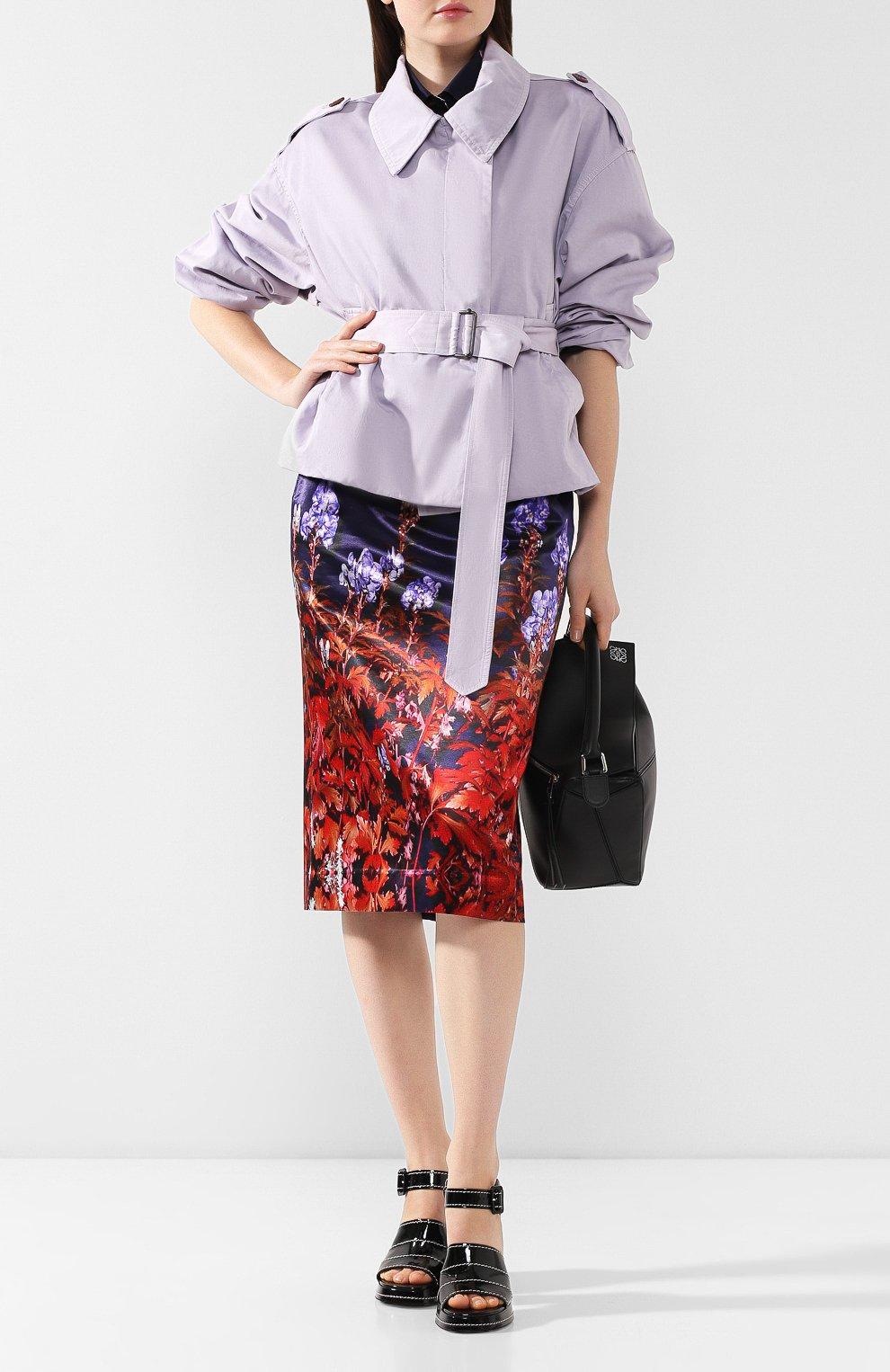 Женская юбка из смеси хлопка и вискозы DRIES VAN NOTEN темно-синего цвета, арт. 192-30815-8401   Фото 2