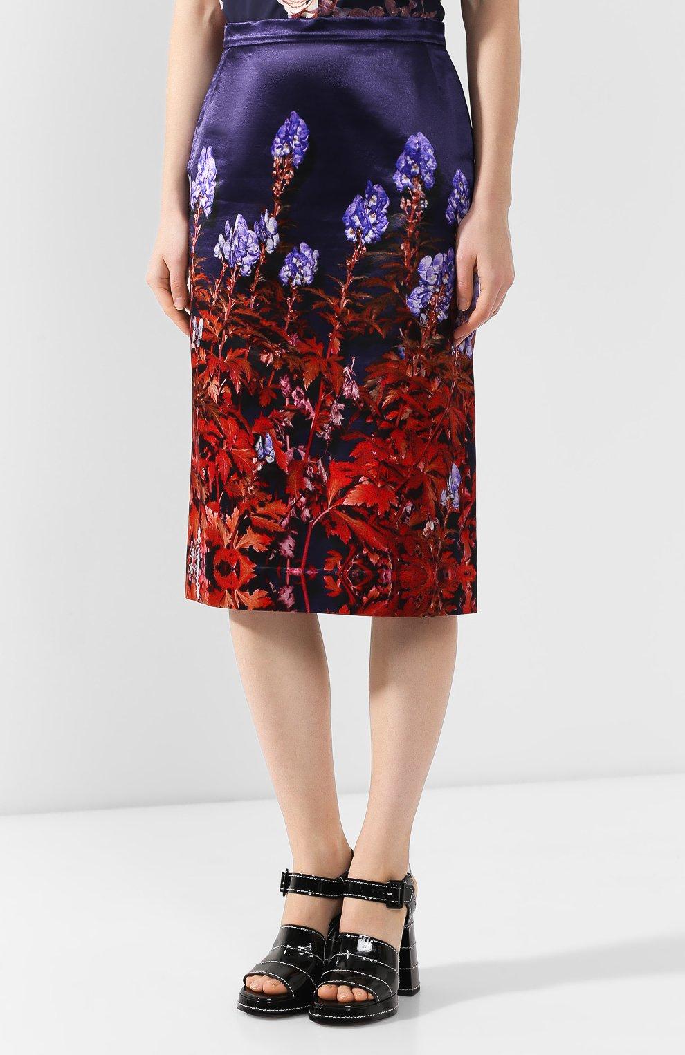 Женская юбка из смеси хлопка и вискозы DRIES VAN NOTEN темно-синего цвета, арт. 192-30815-8401   Фото 3