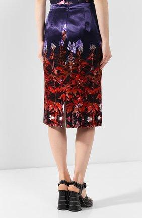 Женская юбка из смеси хлопка и вискозы DRIES VAN NOTEN темно-синего цвета, арт. 192-30815-8401   Фото 4