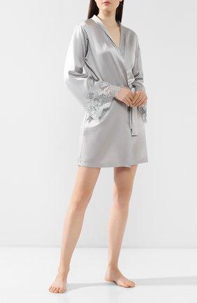 Женский шелковый халат COTTON CLUB серого цвета, арт. 6VB | Фото 2
