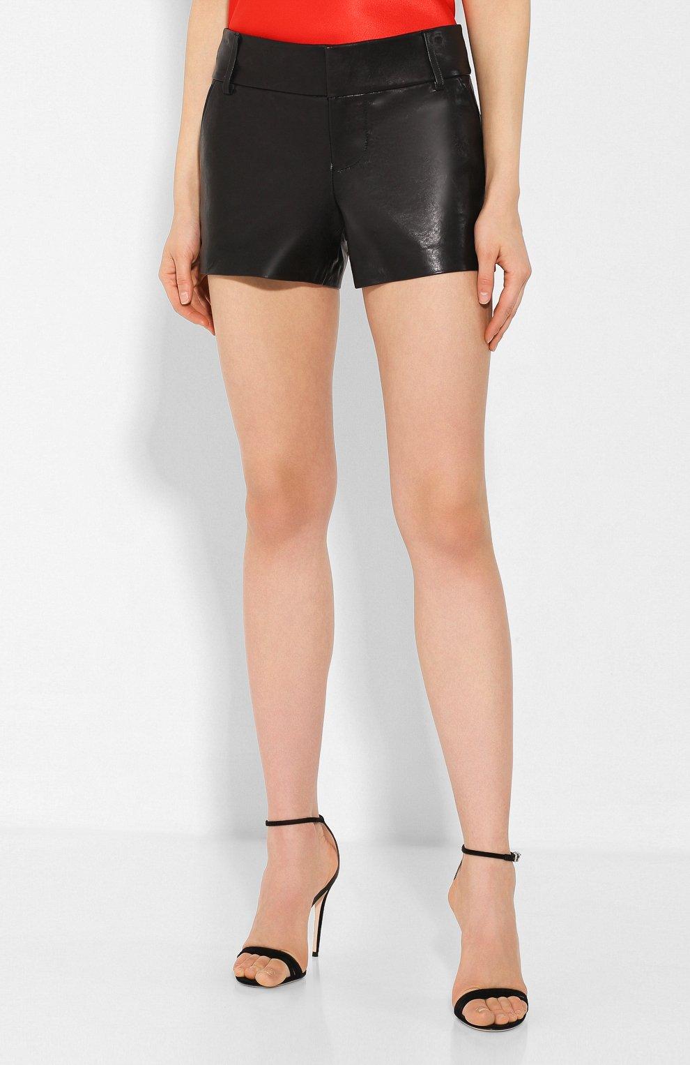 Женские кожаные шорты ALICE + OLIVIA черного цвета, арт. C000133102 | Фото 3