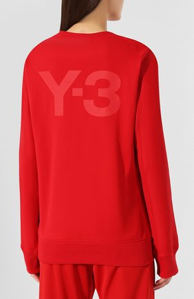 Женский хлопковый свитшот Y-3 красного цвета, арт. FJ0352/W   Фото 4