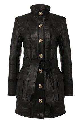 Женская кожаная куртка BALMAIN черного цвета, арт. SF48886/L069 | Фото 1