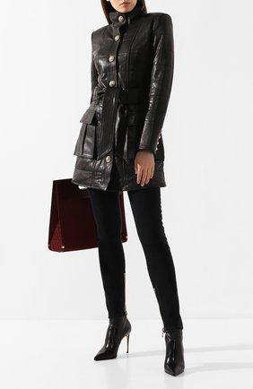 Женская кожаная куртка BALMAIN черного цвета, арт. SF48886/L069 | Фото 2