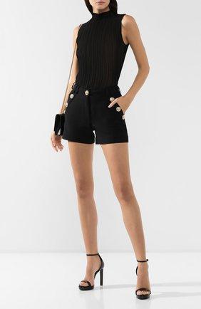 Женские кожаные босоножки hall SAINT LAURENT черного цвета, арт. 538887/0NP00 | Фото 2
