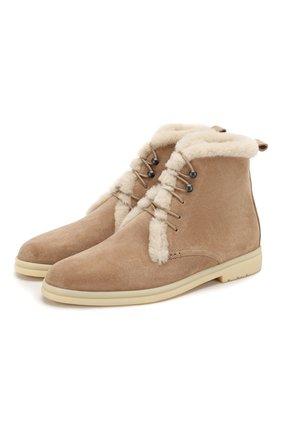 Женские замшевые ботинки ylvi walk LORO PIANA бежевого цвета, арт. FAF9366 | Фото 1