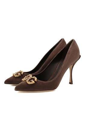 Женская замшевые туфли lori DOLCE & GABBANA коричневого цвета, арт. CD1361/AV301 | Фото 1