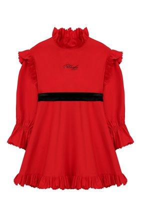 Детское хлопковое платье с поясом PHILOSOPHY DI LORENZO SERAFINI KIDS красного цвета, арт. PJAB43/CA241/UH015/XXS-XS   Фото 1
