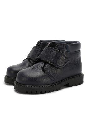 Детские кожаные ботинки с меховой отделкой GALLUCCI синего цвета, арт. T00234BM/SC S S G0M RAM/VIT | Фото 1