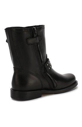 Детские кожаные ботинки с меховой отделкой GALLUCCI черного цвета, арт. J30065BM/TR S S CUG VSA   Фото 2