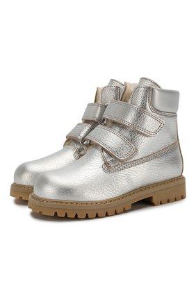 Детские кожаные ботинки с меховой отделкой GALLUCCI серебряного цвета, арт. J01074BM/TR S S G0M ALM/VIT | Фото 1